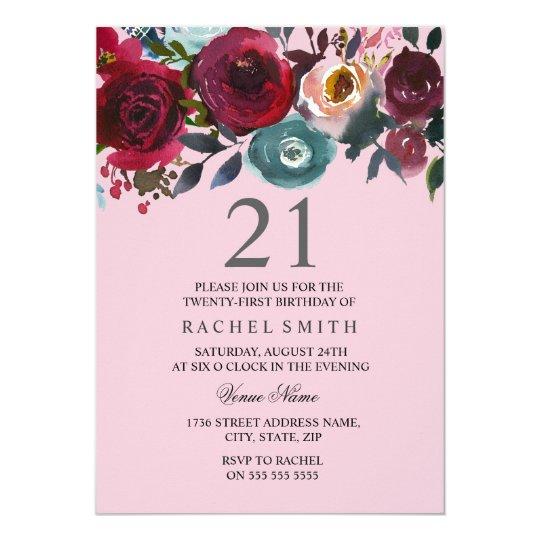 Convite O Aniversário De 21 Anos Floral Cor De Rosa Bonito Zazzle