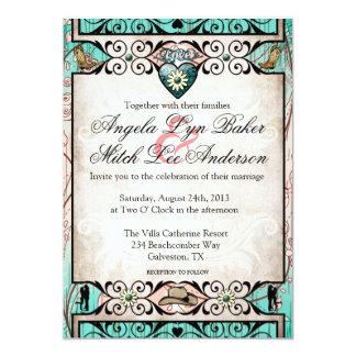 Convite ocidental do casamento do país rústico convite 12.7 x 17.78cm
