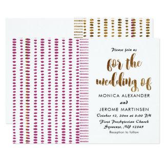 Convite opulento do casamento do ouro do roxo e do