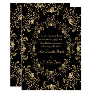 Convite original, art deco do casamento da flor,