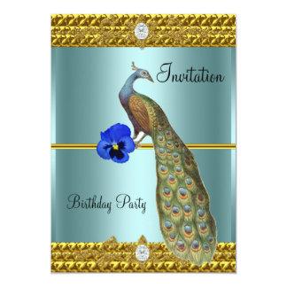 Convite original e elegante do ouro e do pavão