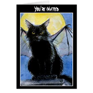 Convite ou cartão do Dia das Bruxas do gato preto