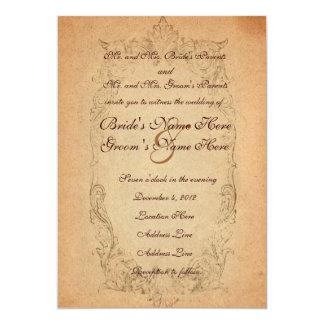 Convite oval antigo do casamento do pergaminho