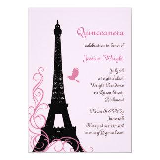 Convite parisiense de Quinceanera (rosa)