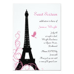 Convite parisiense do aniversário (preto e branco)