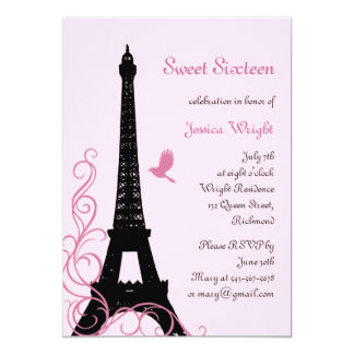 Convite parisiense do aniversário (rosa)