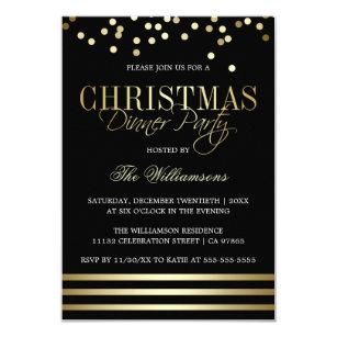 e13a7b3ebcf Convite Partido de comensal Dourado preto do Natal da
