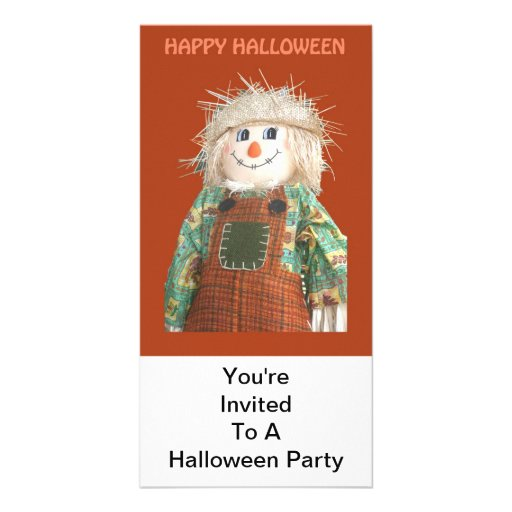 Convite, partido do Dia das Bruxas, DScarecrow Cartão Com Fotos Personalizado