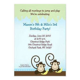 Convite parvo 5x7 do aniversário do macaco - azul