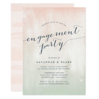 Convite Pastel da festa de noivado da aguarela