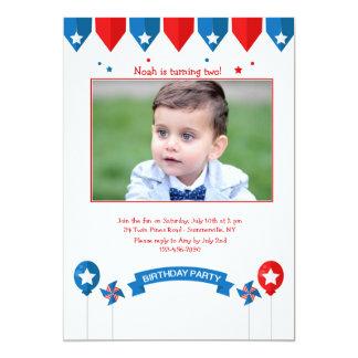Convite patriótico da foto do aniversário