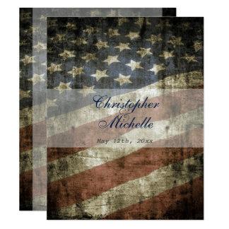 Convite patriótico do casamento vintage da
