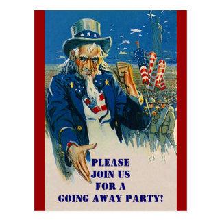 Convite patriótico do tio Sam do cartão do vintage