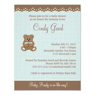 Convite pequeno azul do urso de ursinho