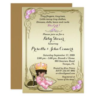 Convite pequeno da princesa chá de fraldas, ouro
