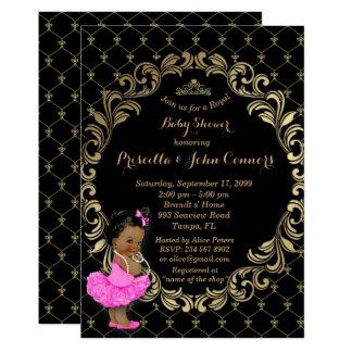 Convite pequeno da princesa chá de fraldas, preto