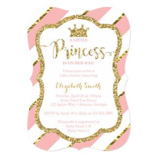 Convite pequeno da princesa chá de fraldas, rosa,