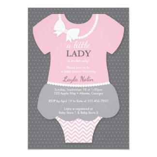 Convite pequeno da senhora chá de fraldas, rosa,