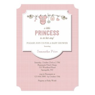 Convite pequeno do chá da princesa bebé