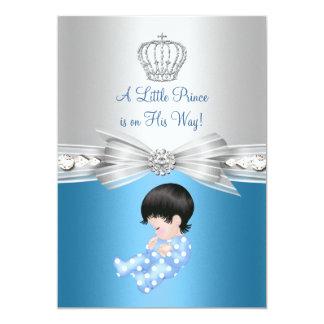 Convite pequeno do chá de fraldas do príncipe Azul