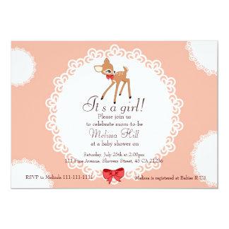 Convite pequeno do chá de fraldas dos cervos convite 12.7 x 17.78cm