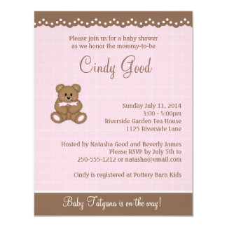 Convite pequeno do rosa do urso de ursinho