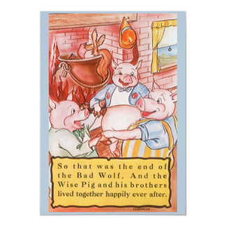Convite pequeno dos porcos do conto de fadas três