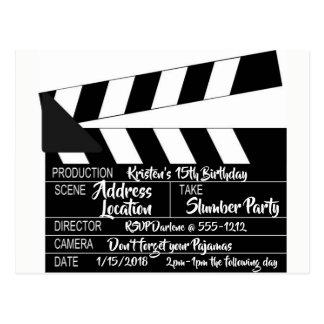 Convite personalizado cartão de Clapperboard
