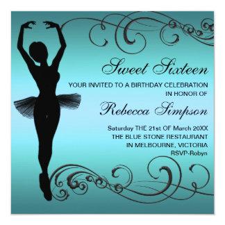 Convite preto & azul do aniversário da bailarina