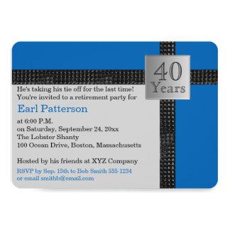 Convite preto, azul, e cinzento da aposentadoria