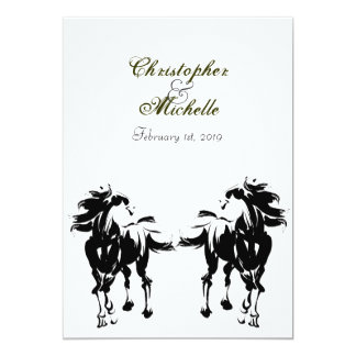 Convite preto, branco e verde do casamento do