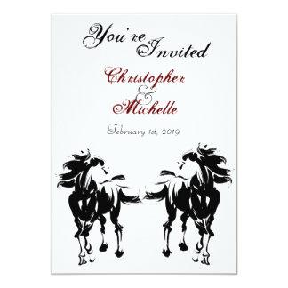 Convite preto, branco e vermelho do casamento do