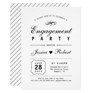 Convite preto & branco elegante da festa de
