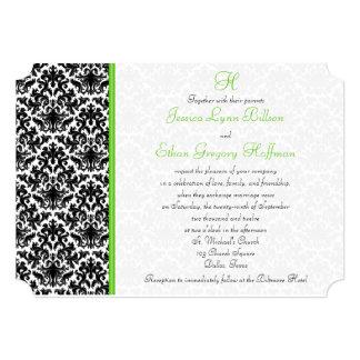 Convite preto, branco, verde do casamento tema