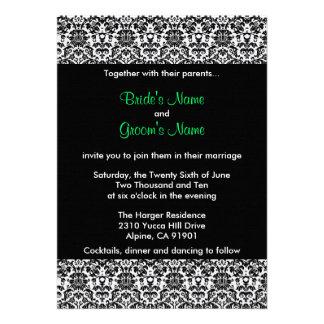 Convite preto branco verde do casamento tema damas