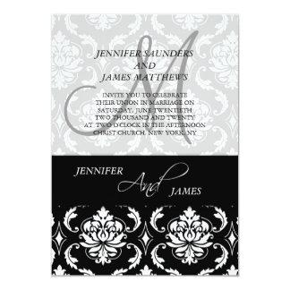 Convite preto clássico do casamento do monograma