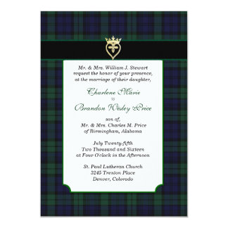 Convite preto clássico do casamento do Tartan do