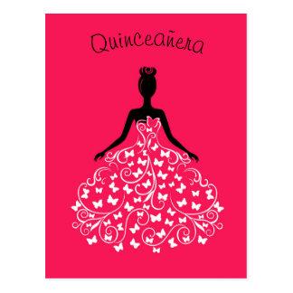 Convite preto cor-de-rosa de Quinceanera do