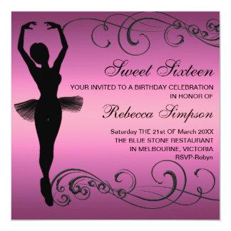 Convite preto & cor-de-rosa do aniversário da