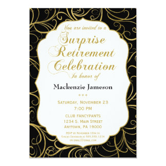 Convite preto da aposentadoria da surpresa do