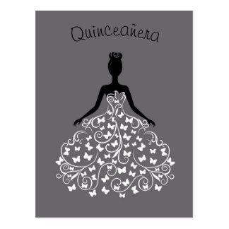 Convite preto de prata de Quinceanera do vestido