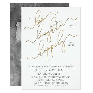 Convite preto do casamento da caligrafia do ouro