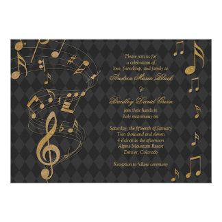 Convite preto do casamento da música do Harlequin
