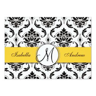 Convite preto do casamento do amarelo do damasco convite 12.7 x 17.78cm