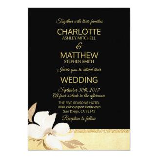 Convite preto do casamento do ouro da aguarela