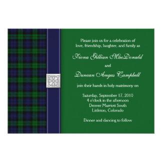 Convite preto do casamento do Tartan do relógio