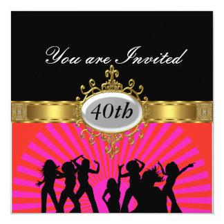 Convite preto do encanto da festa de aniversário