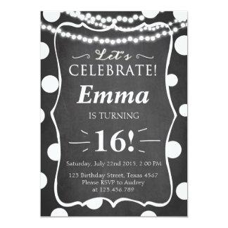 Convite preto e branco adolescente do aniversário