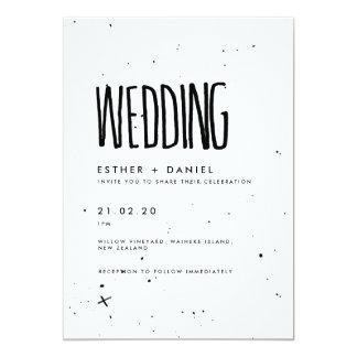 Convite preto e branco do casamento da tipografia