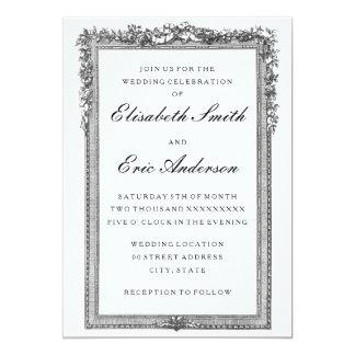 Convite preto e branco do casamento do vintage
